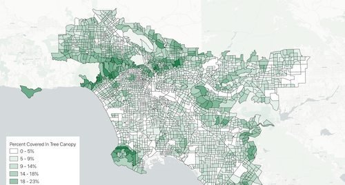 Green choropleth map of Los Angeles