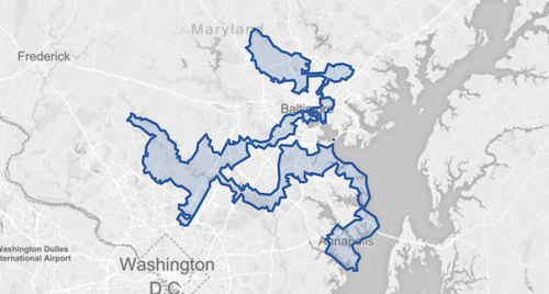Screenshot of a gerrymandered district near Baltimore, MD